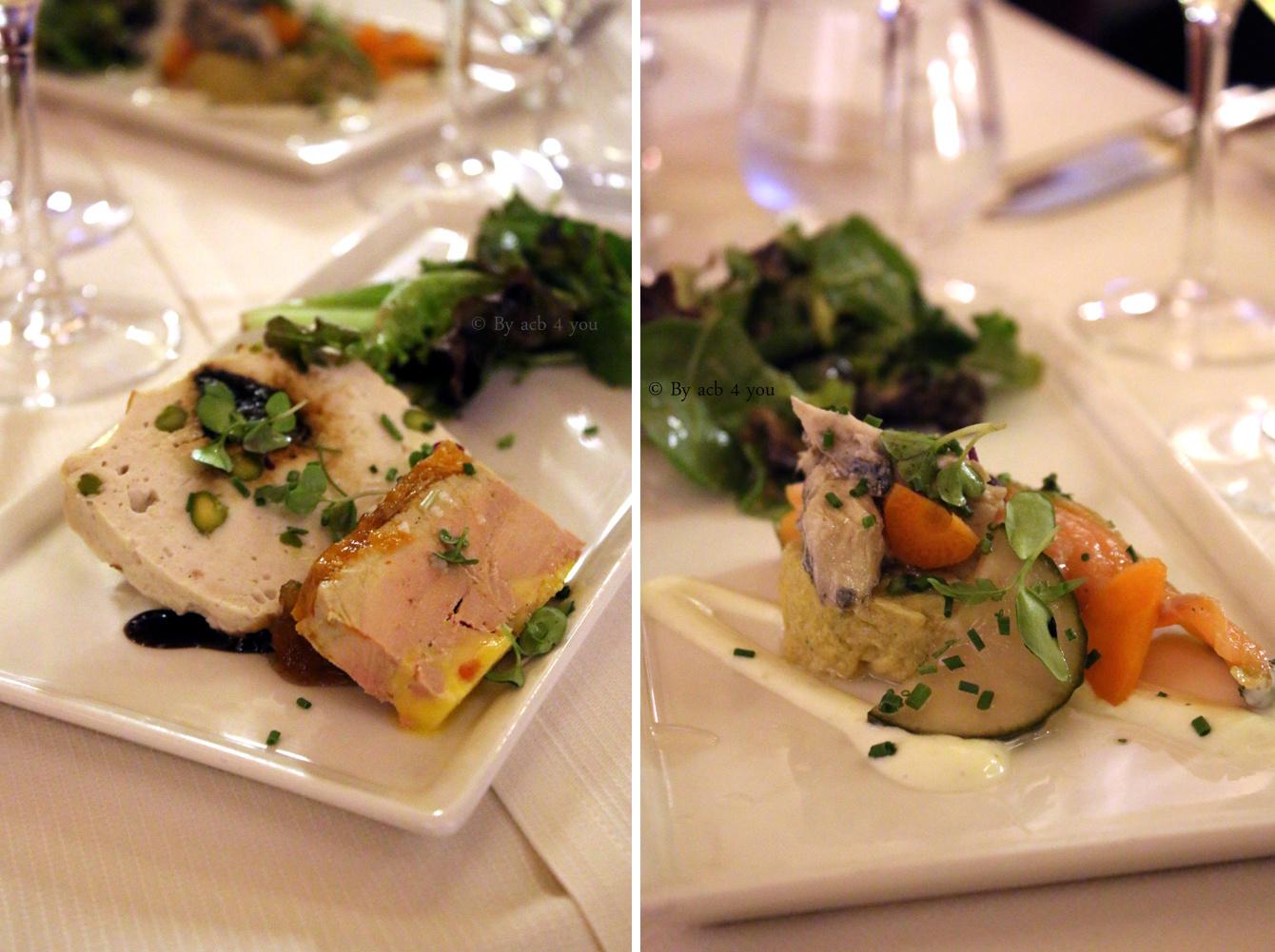 Rillettes de confit de canard, terrine de volaille aux pistaches, foie gras de canard maison ou Crémeux de cabillaud aux herbes fraîches, crabe et crevette épicées, saumon mariné tradition