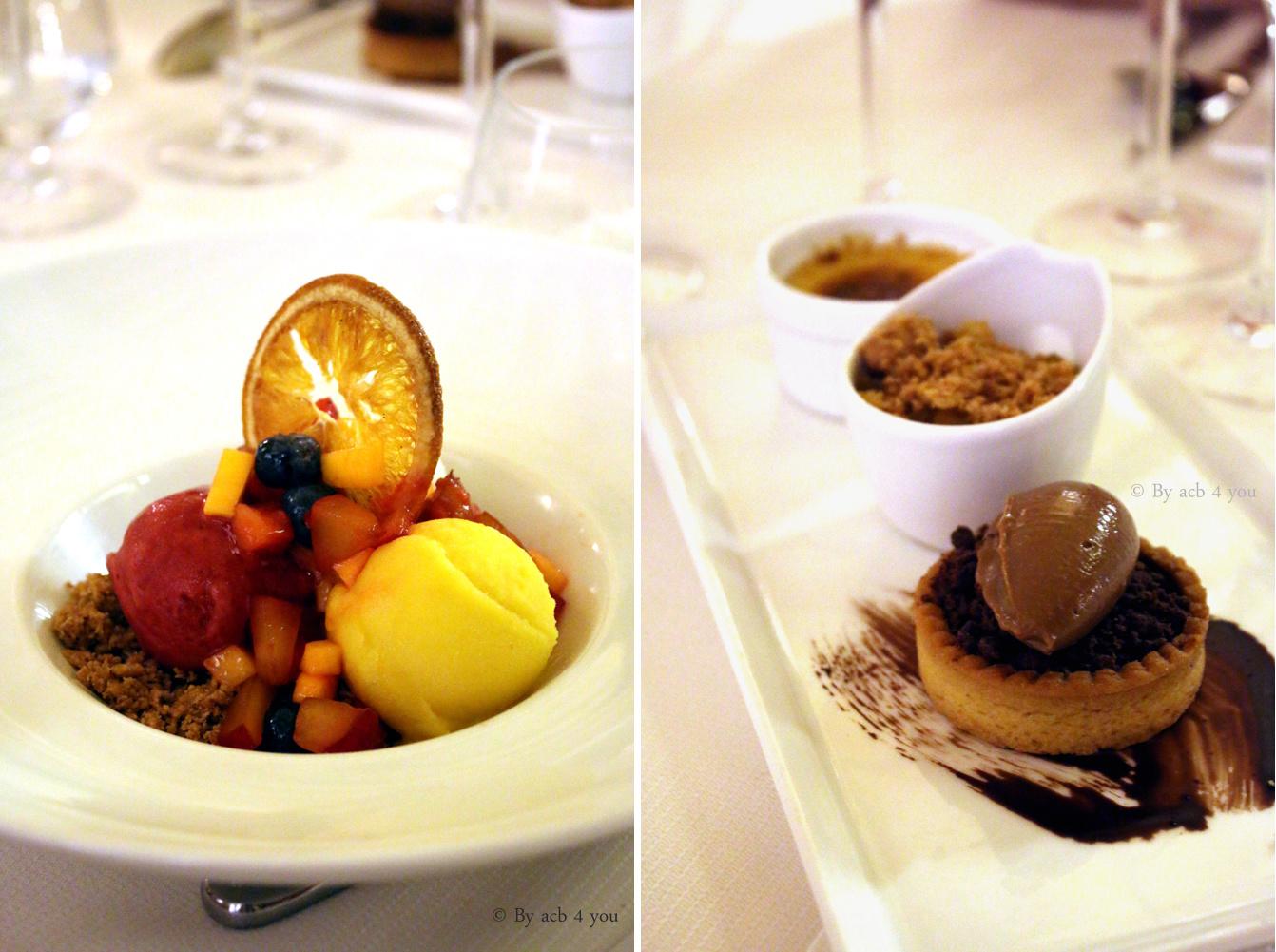 Sorbets maison et fruits frais de saison ou Mini crème brûlée, crumble aux pommes, tartelette chocolat