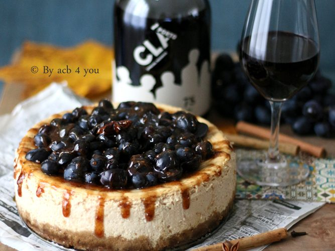 Cheesecake au raisin noir et au miel épicé