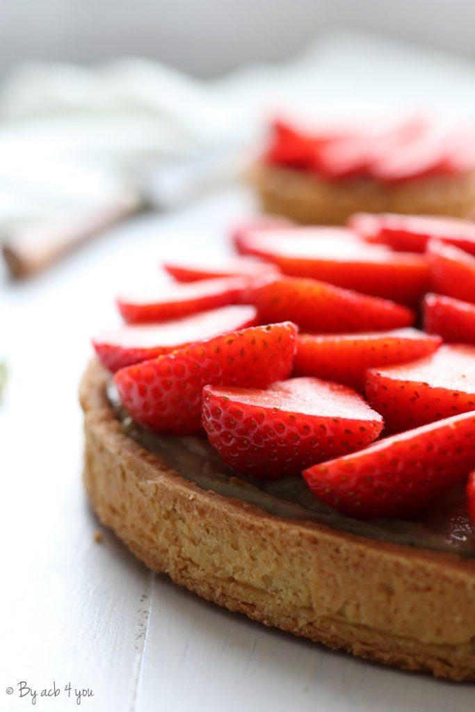 Tarte aux fraises matcha verveine