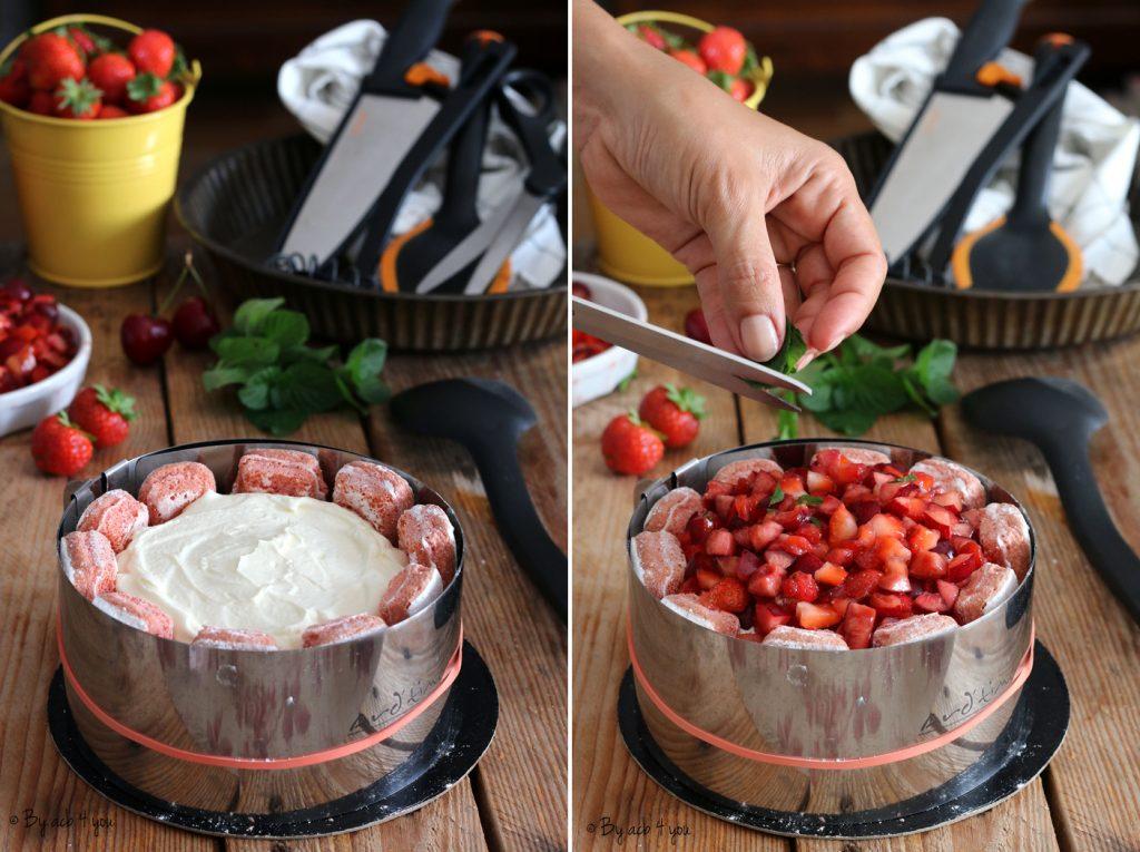 Charlotte fraises et cerises sans cuisson