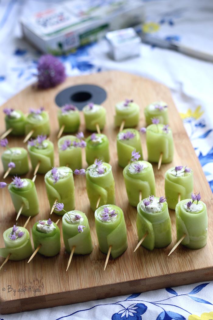 Mes petits roulés de concombre au Carré frais ail, fines herbes et échalotes