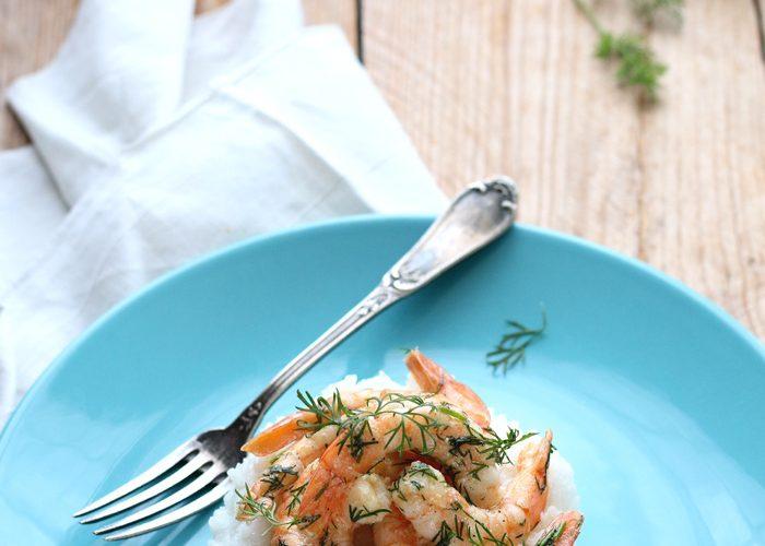 Crevettes à l'aneth et au citron vert