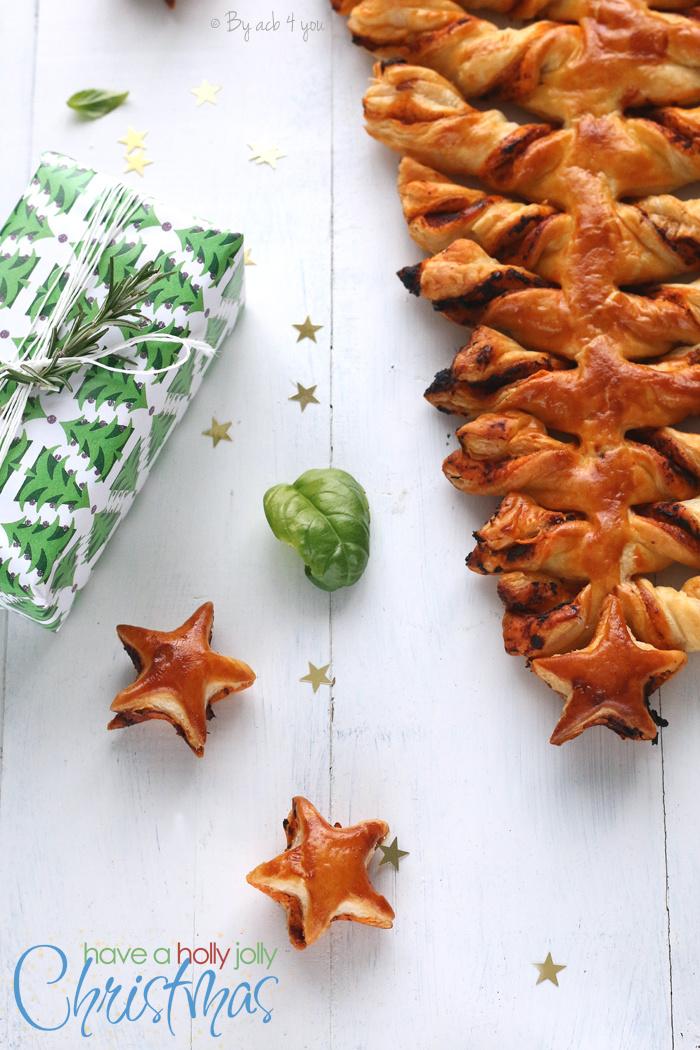 Sapin feuilleté délice de tomates séchées au basilic et ses petites étoiles