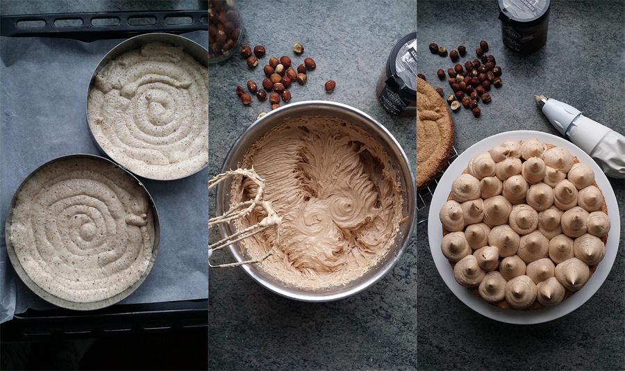Montage de la dacquoise aux noisettes, crème au praliné