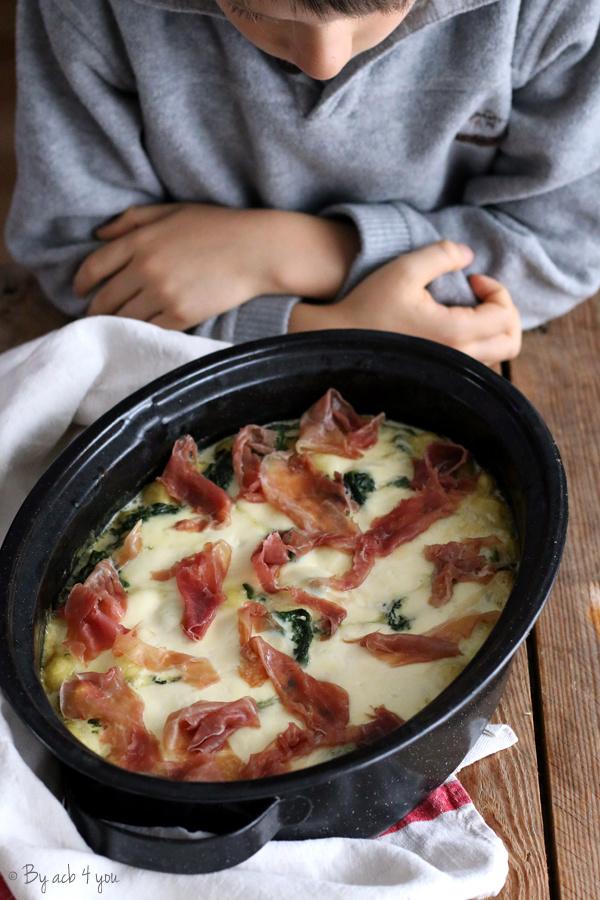 Gnocchi aux épinards, mozzarella et jambon de Parme