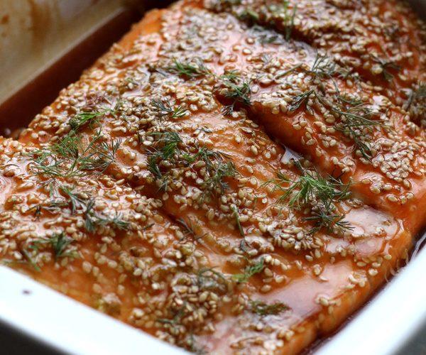 Saumon sauce soja et sésame