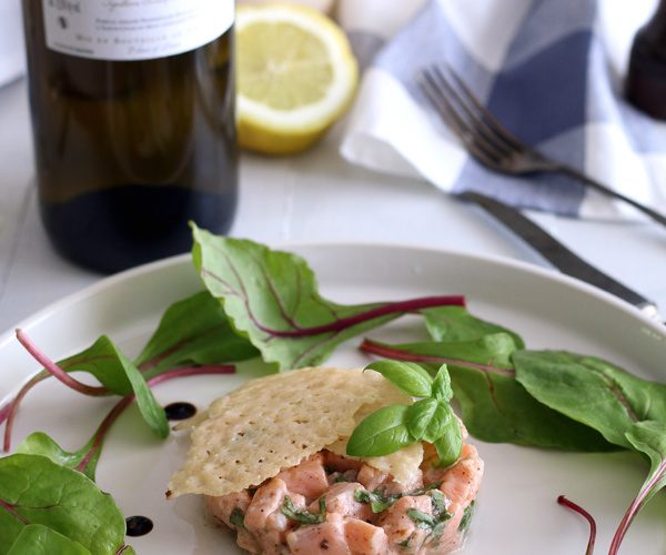 Tartare de saumon citron basilic {accord met vin }