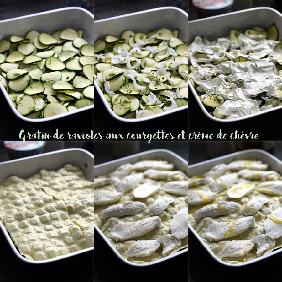 Gratin de ravioles aux courgettes et crème de chèvre