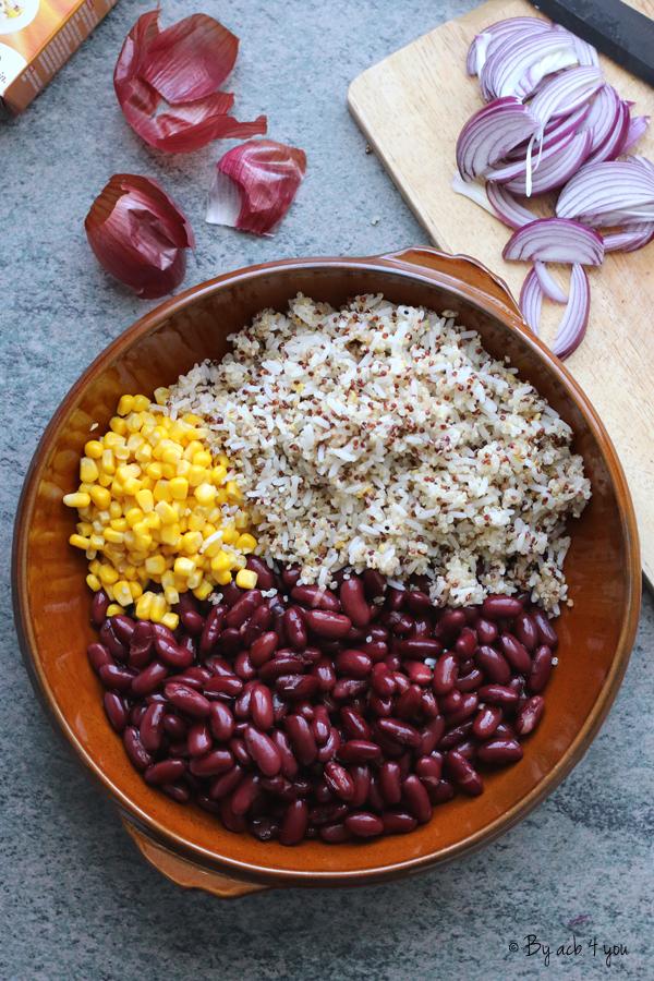 Gratin Inca : Haricots rouges, maïs, riz et quinoa au cheddar