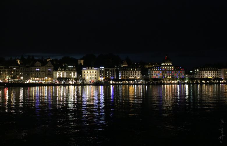 Vue du Lac de Lucerne de nuit