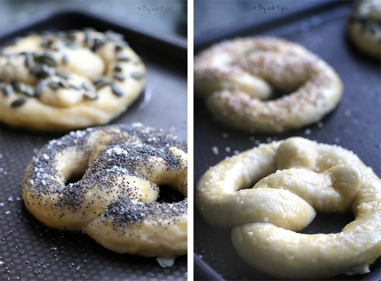 Bretzels aux graines avant cuisson