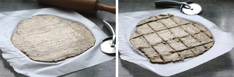 Découpe des crackers aux graines