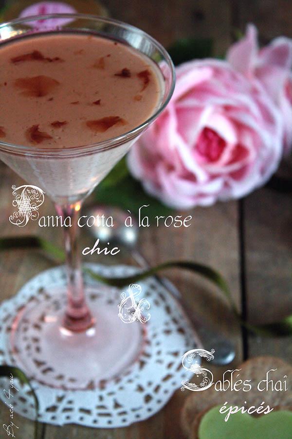 Panna cotta à la rose et ses sablés chaï