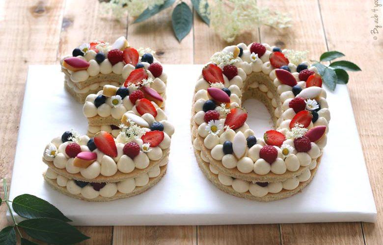 Number cake à la crème diplomate verveine