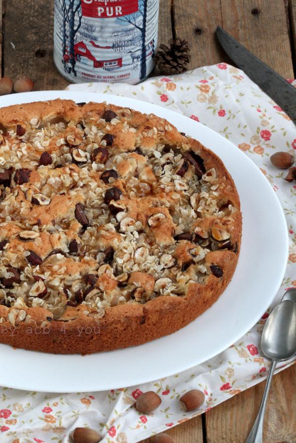 Gâteau gourmand d'automne {poires, noisettes, chocolat et sirop d'érable}