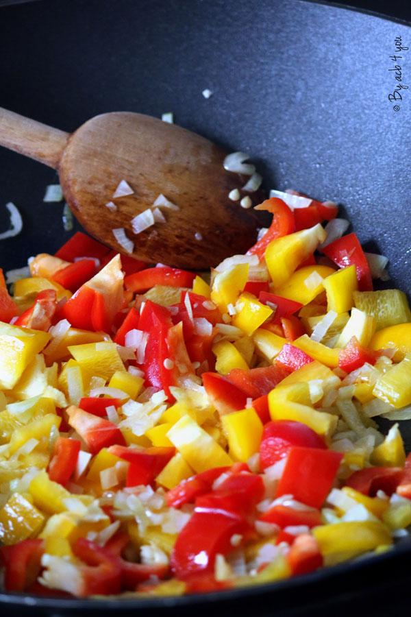 Cornilles aux poivrons et saucisse de Morteau