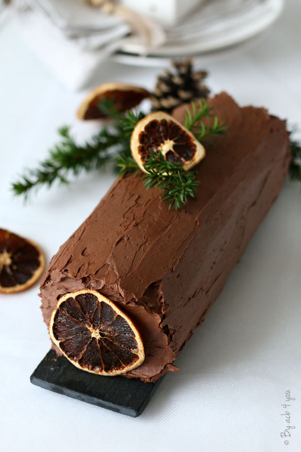 Bûche au chocolat et à l'orange