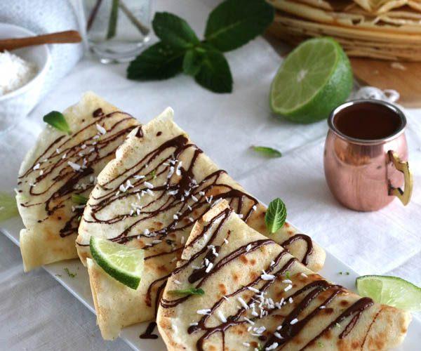 Crêpes coco chocolat et citron vert