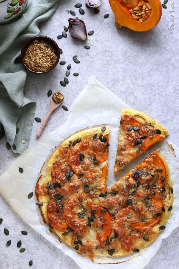 Pizza au potimarron, pâte sans gluten