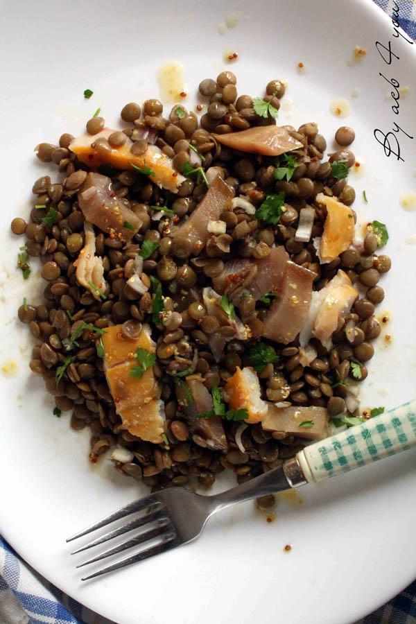 Salades de lentilles aux haddock et maquereau