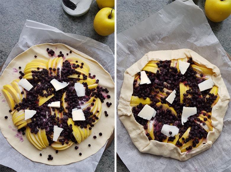Tarte fine et rustique aux pommes et myrtilles