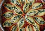 Conchiglioni thon épinard et ricotta gratinées