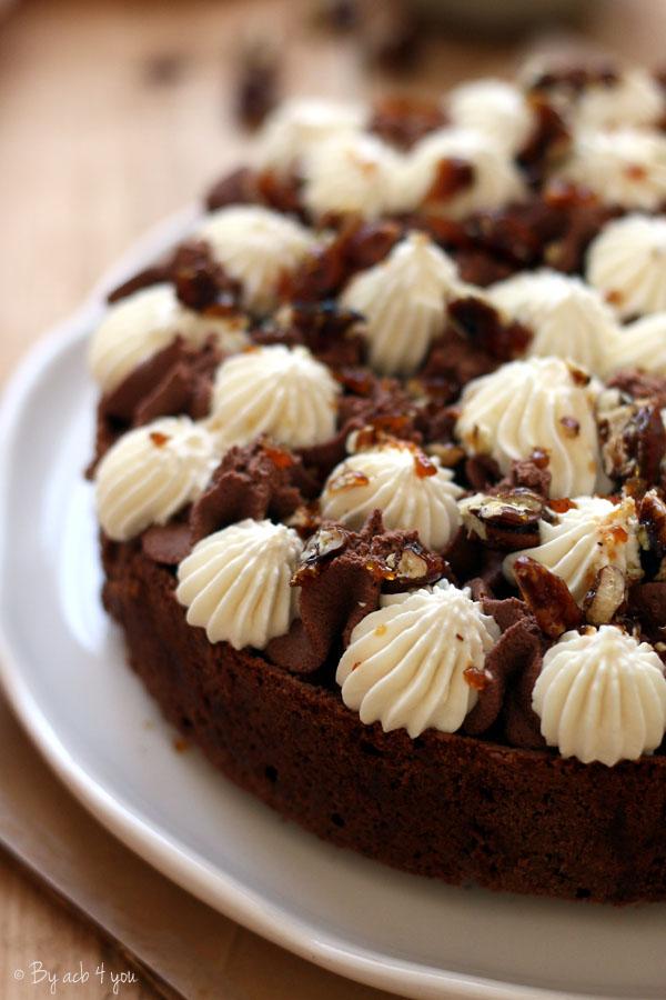 Brownie au chocolat et éclats de noix de pécan caramélisées