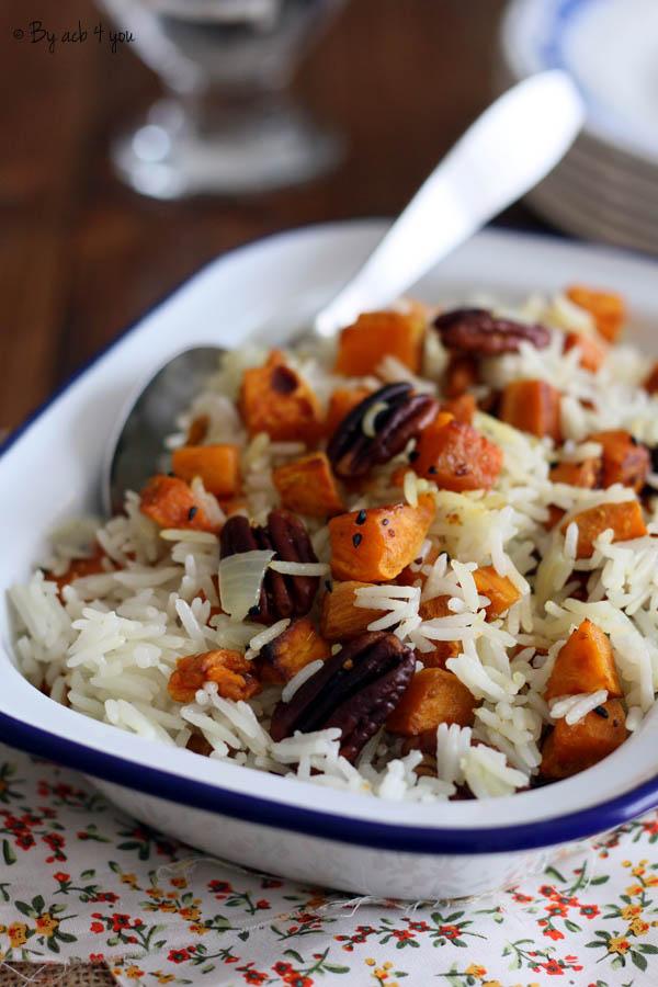Riz basmati aux patates douces et noix de pécan