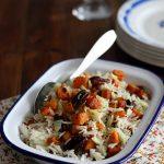 Riz basmati, patates douces et noix de pécan rôties