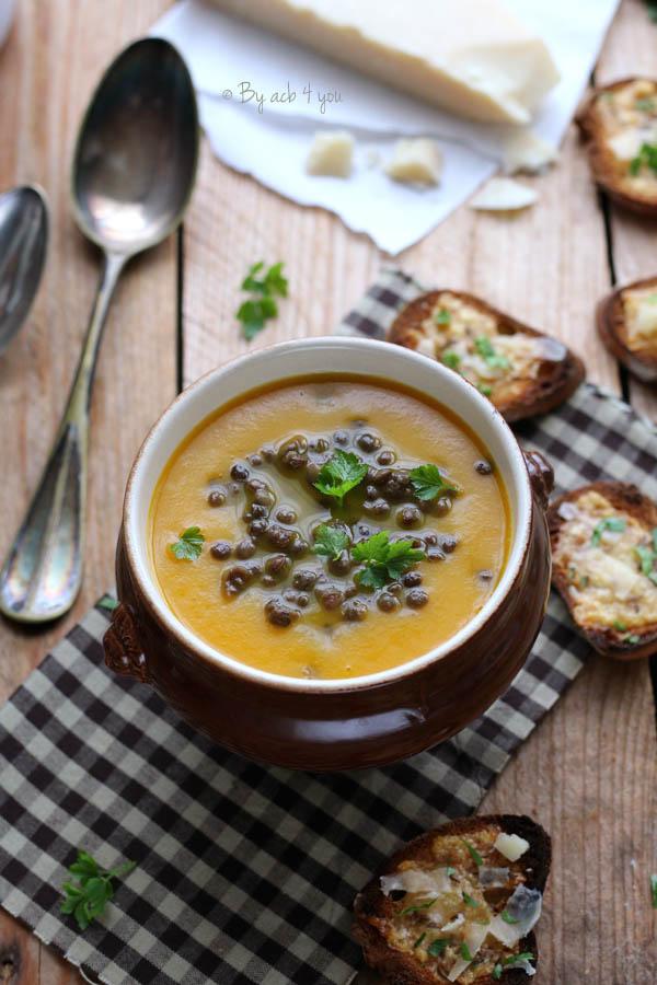 Soupe de carottes aux lentilles