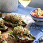 Tartines asperges vertes et crevettes