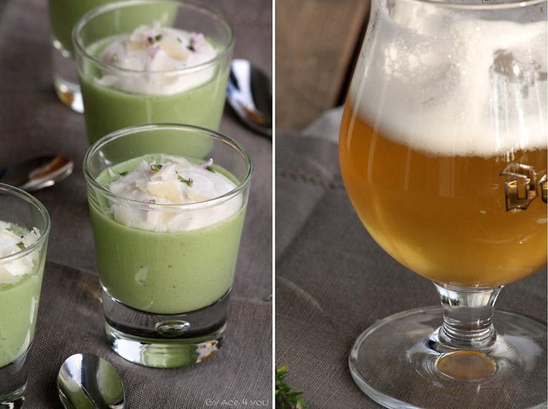 Crème d'asperges vertes et chantilly à la ricotta pour un instant apéro
