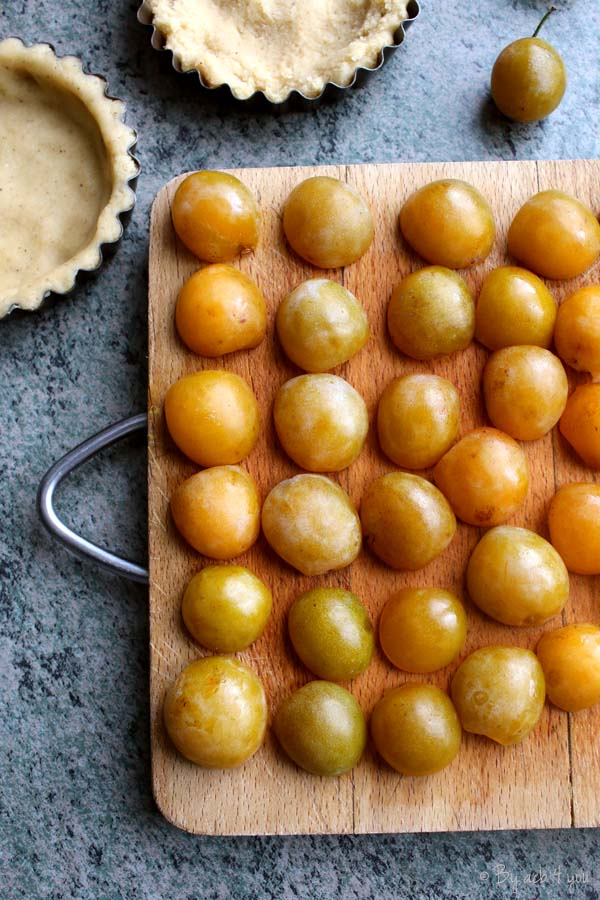 Tartelettes aux mirabelles, pâte sucrée à la cannelle
