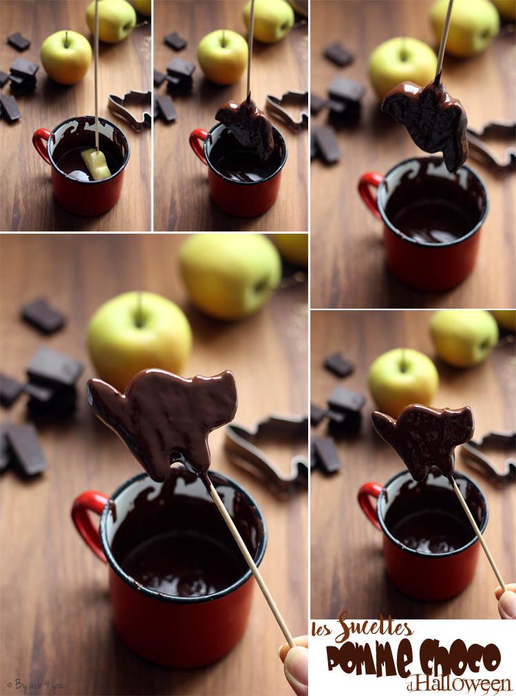 Sucette pomme chocolat pour Halloween