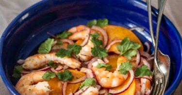 Ceviche de crevettes au kaki et fruits de la passion