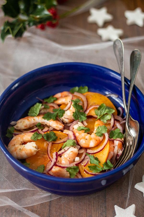 Ceviche de crevettes, kaki et fruit de la passion