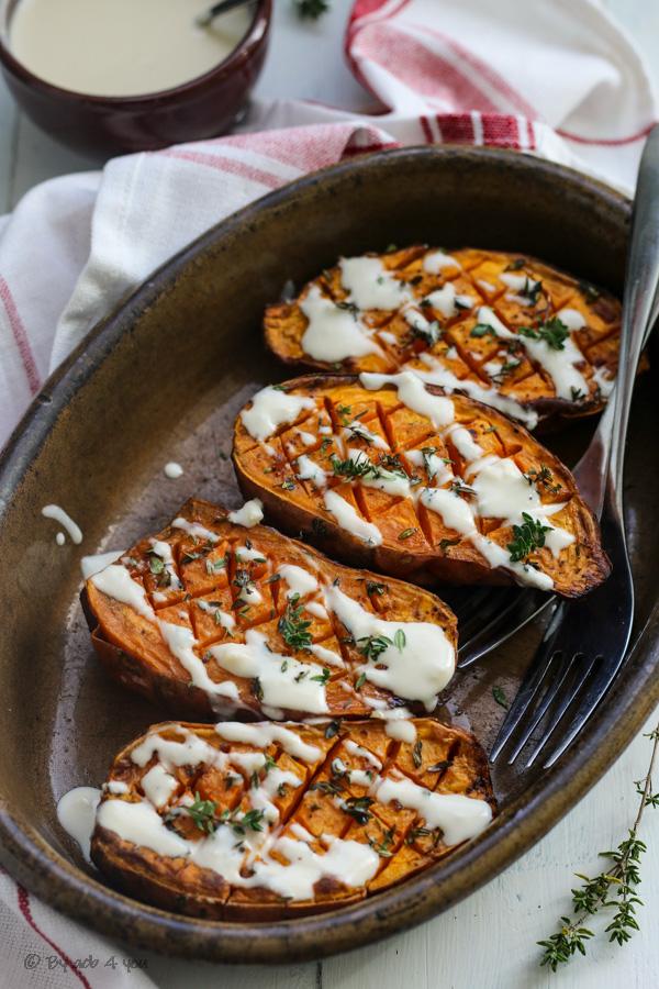 Patates douces rôties au four