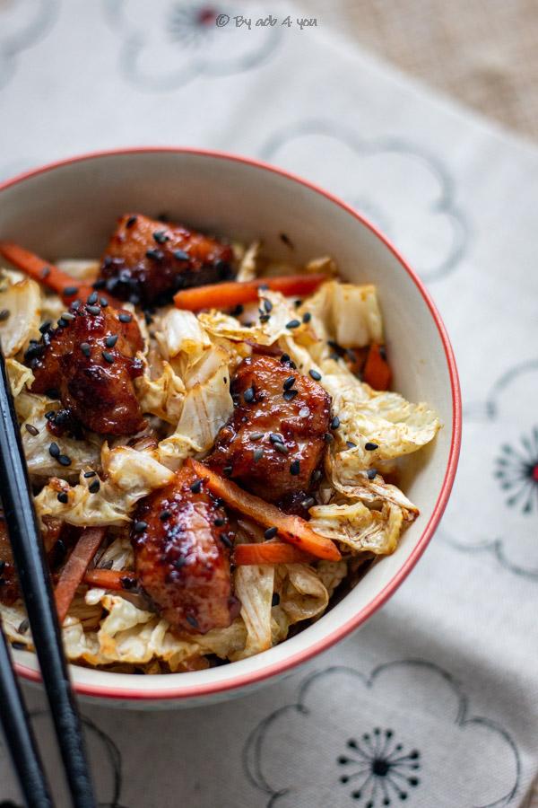 Porc caramélisé et chou chinois
