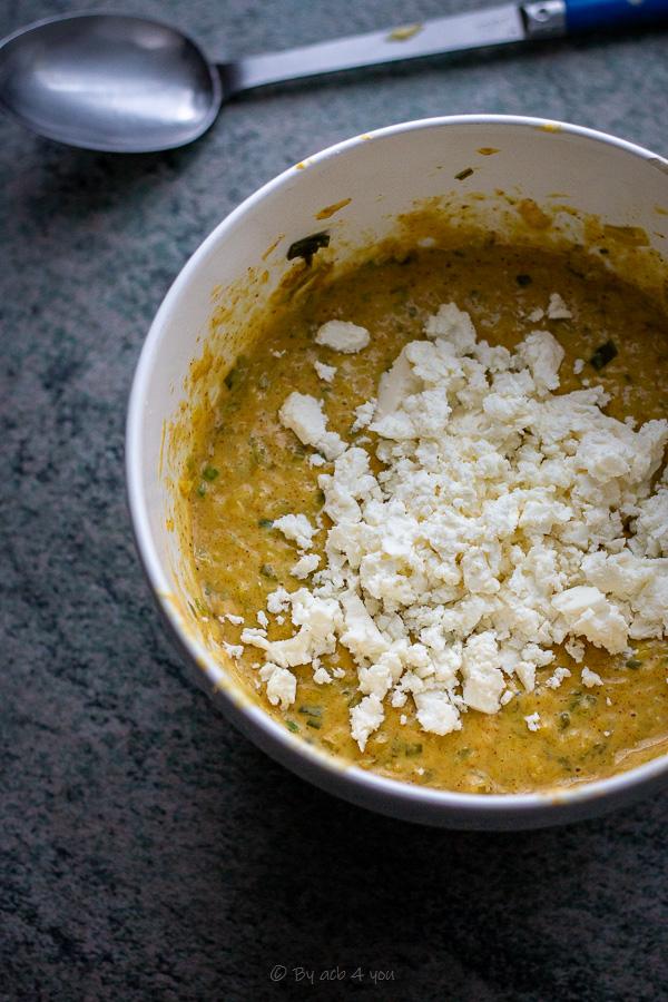 Gaufres aux poireaux, curry et féta