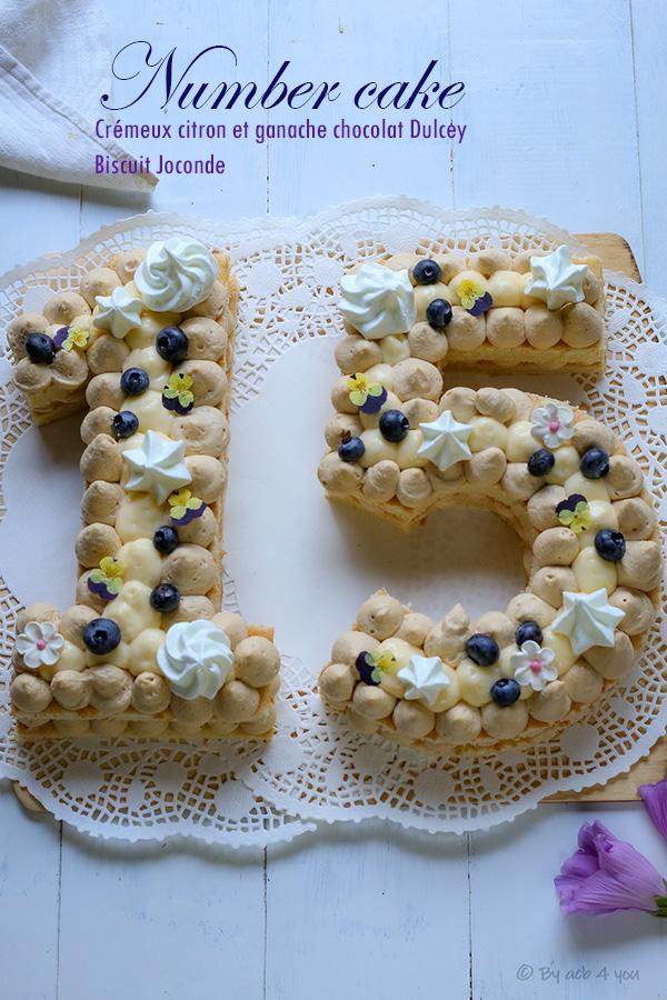 Number Cake, ganache chocolat Dulcey, crémeux citron