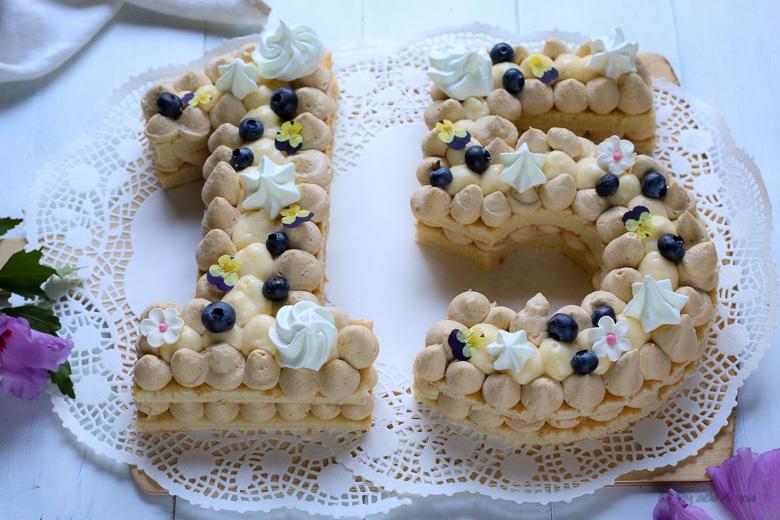 Number cake au chocolat Dulcey et crémeux citron