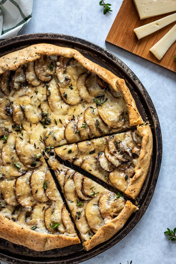 tarte rustique aux champignons et fromage