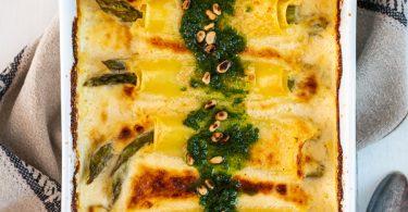 cannelloni d'asperges vertes, béchamel à l'Appenzeller, pesto ail des ours