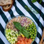 salade composée au quinoa, thon et pamplemousse