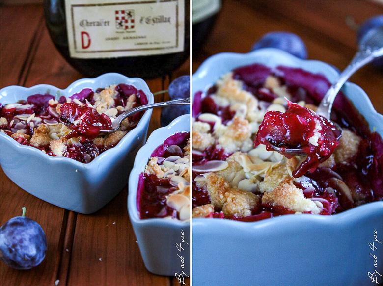 Crumble aux prunes, amandes et Armagnac